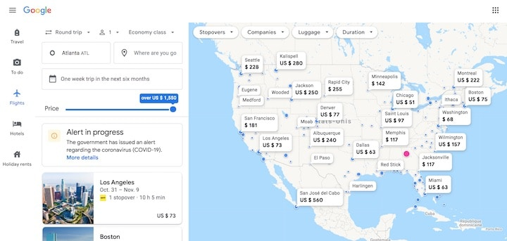 screenshot of google flights map to find good deals with prices flexible by date