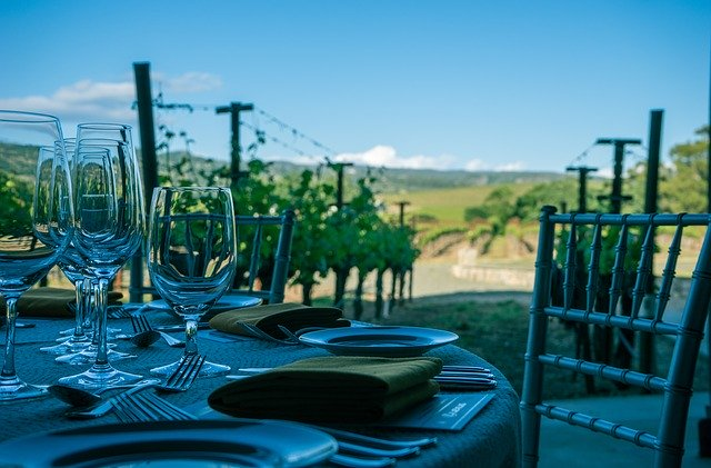 wineries in California, wine table