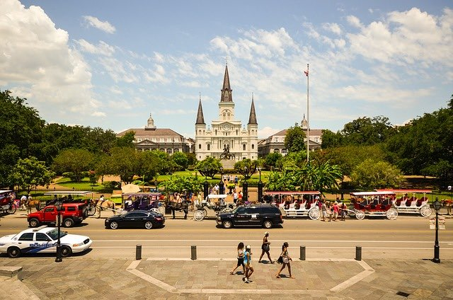 view of jackson square new orleans from across street