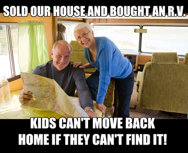 funny rv camping meme about kids not being able to find the house to move back in