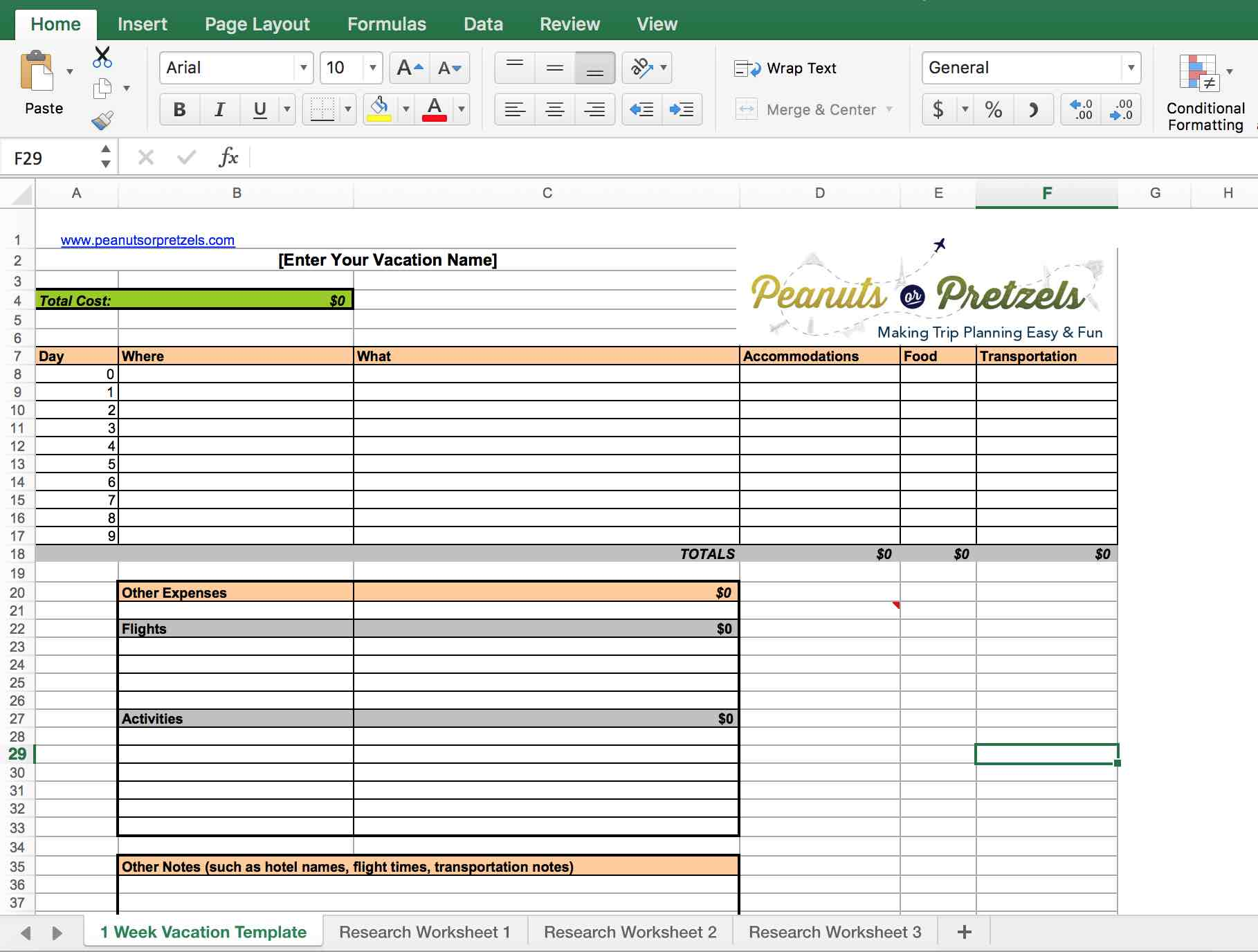 vacation planning travel itinerary template excel, google sheets itinerary template